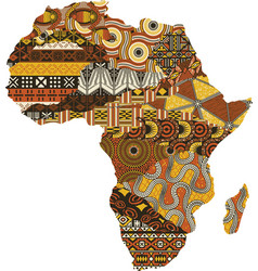 Abstract africa map fabric patchwork vector