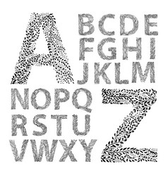 alphabet made with leaves vector image