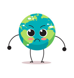 Angry earth character cartoon mascot globe vector