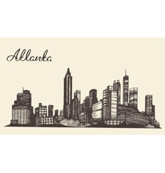 Atlanta skyline engraved hand drawn sketch vector