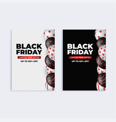 black friday sale banner set social media web vector image