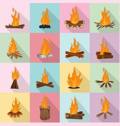 Bonfire night fire icons set flat style vector