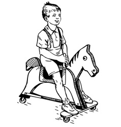 boy on the toy horse vector image