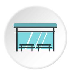Bus stop icon circle vector
