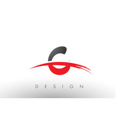 C brush logo letters with red and black swoosh vector