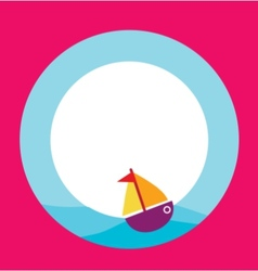 card template with toy boat vector image