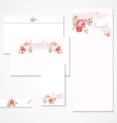 Card with pink roses vector