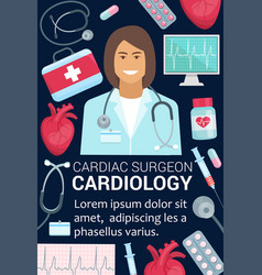 Cardiology surgeon doctor and heart medical poster vector
