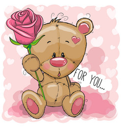 Cartoon bear with flower on a pink background vector