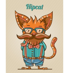 cartoon hipster style cat vector image
