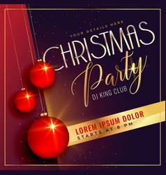 christmas party background with red balls vector image