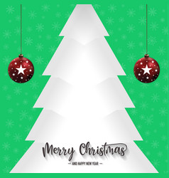 christmas pine tree and ornaments with green vector image