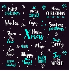 Christmas typography Set on dark vector image