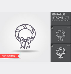christmas wreath line icon with editable stroke vector image