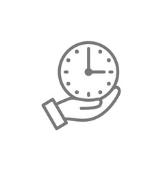 Clock in hand time management line icon vector