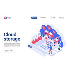 Cloud storage landing page template vector