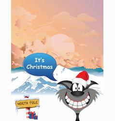 Comical christmas cat at dawn vector