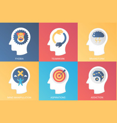 Concept phobia teamwork brainstorm mind vector