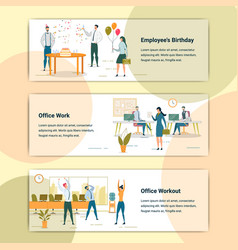 corporate lifestyle flat web banners templates set vector image