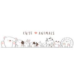 Cute baanimal cartoon hand drawn style vector