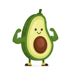 Cute happy strong smiling avocado vector