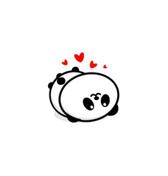 Cute panda in love and rest vector