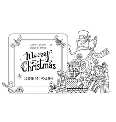doodles christmas invitation in childish style vector image