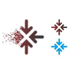 Dust pixel halftone quadro collide arrows icon vector