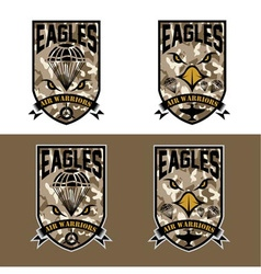 Eagles air warriors army shields set design vector