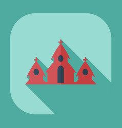 Flat modern design with shadow icons church vector