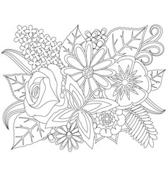 floral doodle coloring page vector image