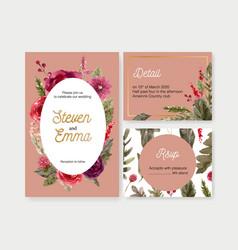 Floral wine wedding card design with rowan rose vector
