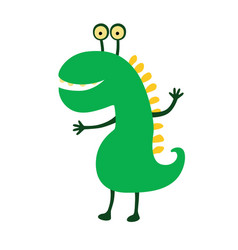 funny smiling dinosaur cute vector image