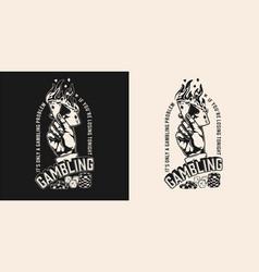 Gambling monochrome vintage emblem vector