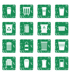 Garbage container icons set grunge vector