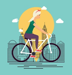 Girl on bike background city skyline in linear vector
