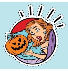 Girl scared Halloween evil pumpkin vector image