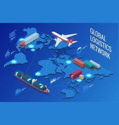 Global logistics network vector
