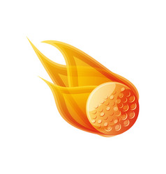 golf ball with flames isolated icon vector image