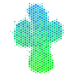 halftone blue-green cacti icon vector image