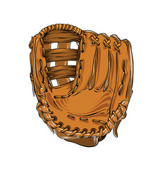 Hand drawn sketch of baseball glove in color vector
