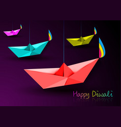 Happy diwali celebration in origami style paper vector