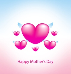 happy mothers day greeting card with heart pink 2 vector image