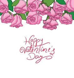 happy valentine n pink roses frame vector image