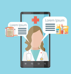 Health application on a smartphone vector