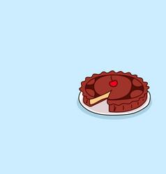 homemade sweet bakery chocolate cake with cherry vector image