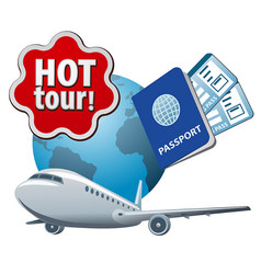 hot tour sign vector image
