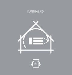 House planning - project design - flat icon vector