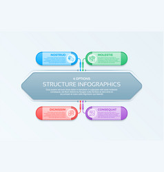 infographics template with 4 structure elements vector image