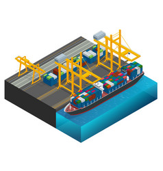 Isometric cargo containers transshipped between vector
